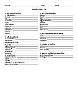 Realidades 1 Capítulo 3A Vocabulario