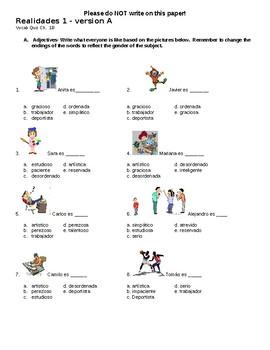 Realidades 1 Ch.1B Test - Version A