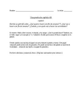 Realidades 1 Ch. 4B essay prompt Test