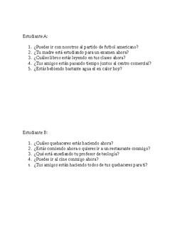 Realidades 1 Ch. 6B partner speaking activity