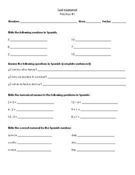 Realidades 1: Ch. Para Empezar Los Números (práctica #1)