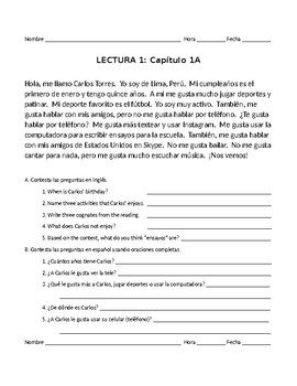Realidades 1, Chapter 1A Teacher-Created Readings (2)