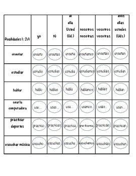 Realidades 1: Chapter 2A -AR verbs Connect 4