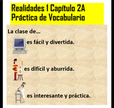 Realidades 1 Chapter 2A Vocabulary Practice for PDF and Go
