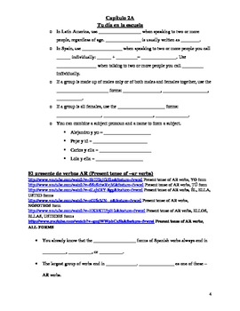 Realidades 1 Chapter 2A Vocabulary and Grammar Study Guide