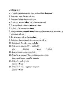 Realidades 1, Chapter 3A. Vocabulary # 1. Quiz / Activity