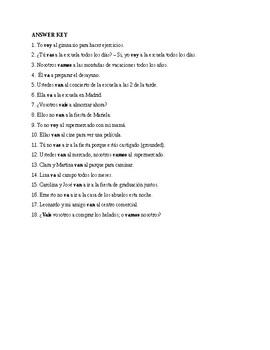 Realidades 1, Chapter 4A. The verb ir. Quiz / Activity