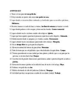 Realidades 1, Chapter 4A. Vocabulary # 1. Quiz / Activity