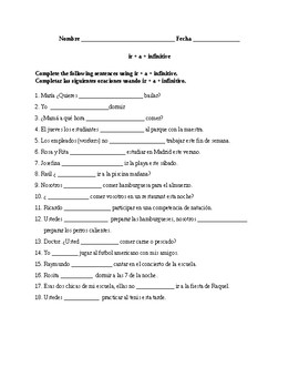 Realidades 1, Chapter 4B. Ir + a + infinitve. Quiz / Activity