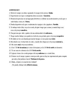 Realidades 1, Chapter 4B. Vocabulary # 1. Quiz / Activity