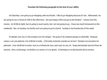 Realidades 1, Chapter 4B sentence-by-sentence paragraph translation