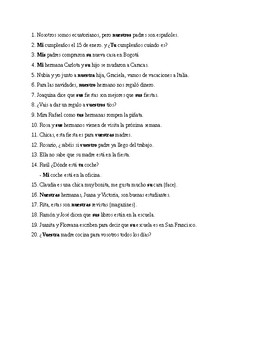 Realidades 1, Chapter 5A. Possessive adjectives. Quiz / Activity