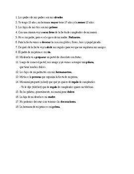 Realidades 1, Chapter 5A. Vocabulary # 1. Quiz / Activity