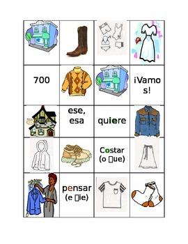Realidades 1, Chapter 7A Bingo: clothes