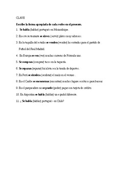 Realidades 1, Chapter 7A. Se impersonal
