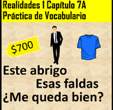 Realidades 1 Chapter 7A Vocab Practice for PDF and Google Slides Distance