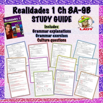 Realidades 1 Chapter 8A-9B Review Sheet / Study Guide