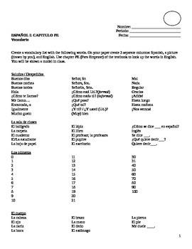 Realidades I, Para Empezar vocabulary List
