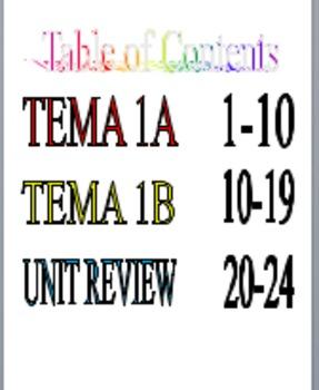 Realidades 1 EDITABLE Tema 1A and Tema 1B Packet with Review