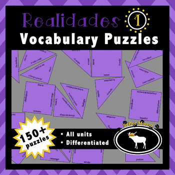Realidades 1 Spanish Vocabulary Puzzles (Entire Textbook)