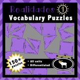 Realidades 1 Spanish Vocabulary Puzzles (Entire Textbook)