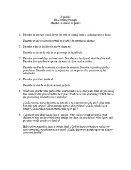 Realidades 1 Final Writing Prompts - Spn I Essay