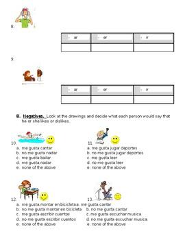 Realidades 1 Negatives and Infinitives Quiz
