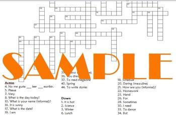 Realidades 1 PE-2A Crossword Puzzle