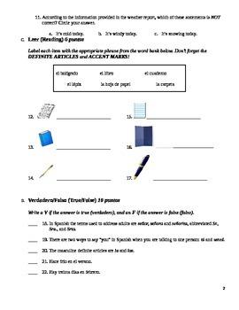Realidades 1 Para Empezar Exam