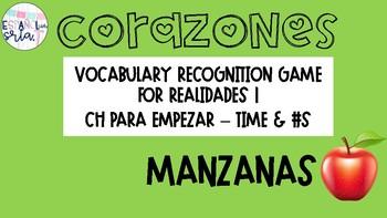 Realidades 1 Para Empezar Time Numbers Vocabulary Recognition Game  Manazanas