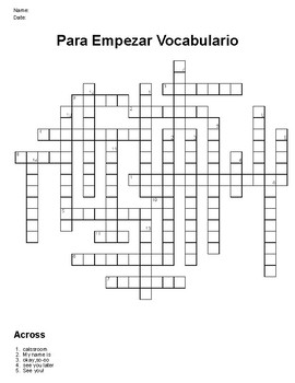 Realidades 1 Para Empezar Vocabulary Crossword Puzzle