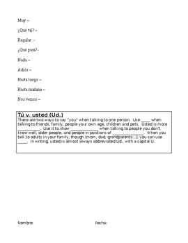 Spanish Realidades 1 Para empezar PE Comprehensive Notes Vocab Worksheet Packet