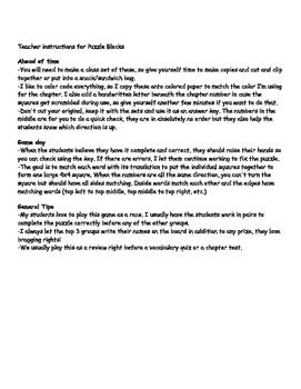 Realidades 1 Puzzle Blocks Chapter 2A