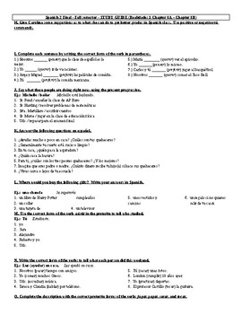 Realidades 1 - Semester Exam Review (Chapters 6A - 8B)