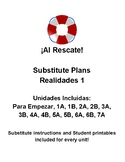 Realidades 1: Substitute Plans, Para Empezar-7A (14 total days of lesson plans)