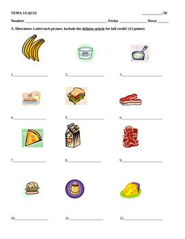 Realidades 1 Tema 3A Vocabulary and Grammar PreQuiz or quiz