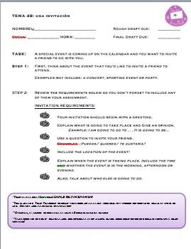 Realidades 1 Tema  4A 4B Invitation Project/Activity