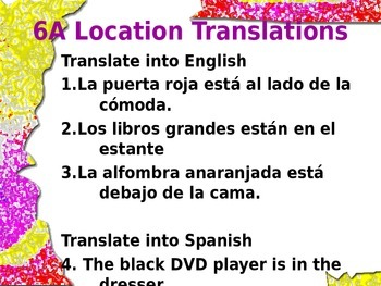 Realidades 1 Tema 6A Location translations with answer key