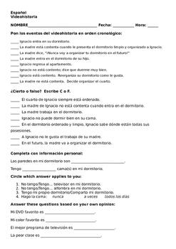 Realidades 1 Tema 6A Videohistoria Activities Worksheet