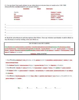 Realidades 1 Tema 6B Present Progressive Practice or Assessment