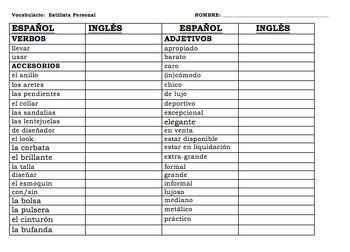 Spanish Realidades 1 Tema 7A and 7B Personal Stylist Clothing Activity