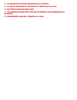 Realidades 1 Tema 7A grammar quiz:  clothing, verbs, demonstrative adjectives