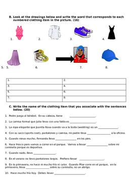 Realidades 1 Tema 7A vocabulary quiz