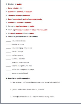 Realidades 1 Tema  8A Homework Class Activities Warm-Up Worksheet