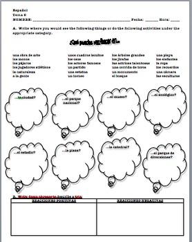 Realidades 1 Tema  8A Homework Class Activities Warm-Up Worksheet