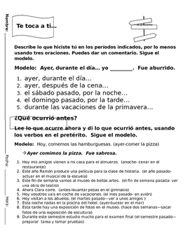 Realidades 1 Tema 8A Preterite Discussion Questions/Oral Activities