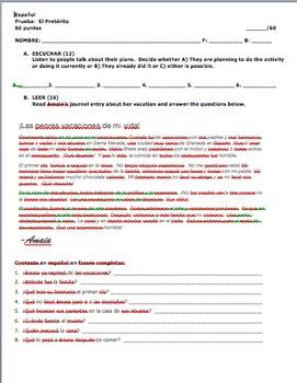 Realidades 1 Tema 8A Preterite Quiz