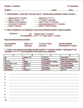 Realidades 1 Tema 8A Preterite in-class activities  TRAVEL UNIT