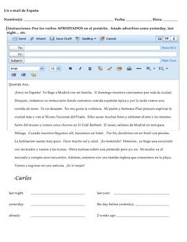 Realidades 1 Tema 8A Reading and Writing Preterite Activity- ON VACATION