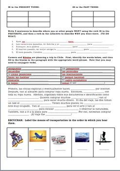 Spanish Realidades 1 Tema 8A Videohistoria Activities Worksheet